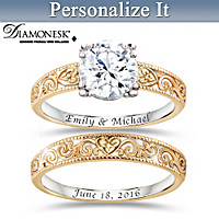 Vintage Style Personalized Bridal Ring Set