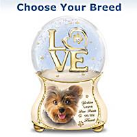 Dogs Leave Paw Prints On My Heart Glitter Globe