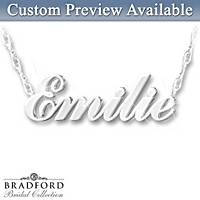 Sculpted Name Personalized Diamond Necklace