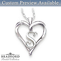 Initial Heart Personalized Diamond Pendant Necklace