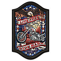 Live Free, Ride Hard Illuminated Stained-Glass Wall Decor