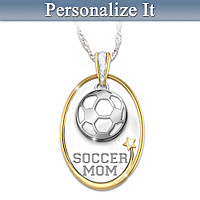 #1 Fan Sports Mom Personalized Pendant Necklace