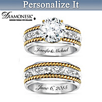 Western Romance Personalized Bridal Ring Set