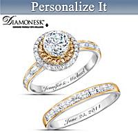 Champagne Celebration Personalized Bridal Ring Set