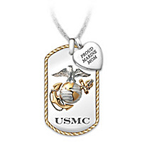 Proud Marine Mom Pendant Necklace