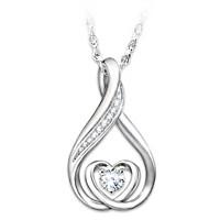 Daughter's Precious Light Diamond And Topaz Pendant Necklace