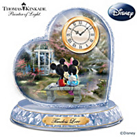 Thomas Kinkade Disney Timeless Love Crystal Heart Clock