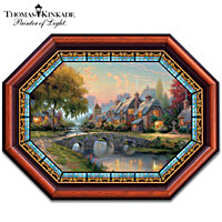 Thomas Kinkade Cobblestone Bridge Stained-Glass Wall Decor