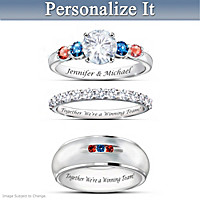 Cubs Personalized His & Hers Diamonesk Wedding Ring Set