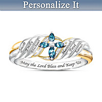 Bless And Keep Our Family Personalized Ring