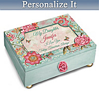 Daughter, I Love You Personalized Floral Music Box