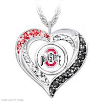 I Love My Buckeyes Fan Pendant Necklace