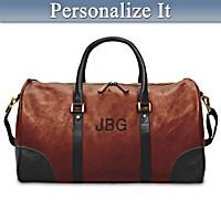 Men's Monogram Personalized Leather Duffel Bag
