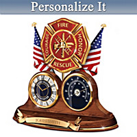 Firefighter Personalized Thermometer Clock
