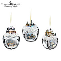 Thomas Kinkade Sleigh Bells Ornaments: Set Of Three