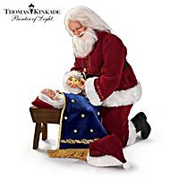 Thomas Kinkade Glory To The Newborn King Santa Doll