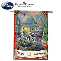 Thomas Kinkade Disney's Mickey & Minnie Merry Christmas Flag
