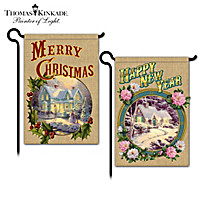 Thomas Kinkade Merry Christmas And Happy New Year Flags
