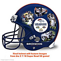 Denver Broncos Super Bowl 50 Collage Helmet Sculpture
