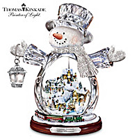 Thomas Kinkade Crystal Snowman With Village, Moving Train