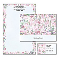 Lena Liu's Floral Borders Personalized Stationery