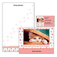 Rescued Is Something to Purr About Personalized Stationery