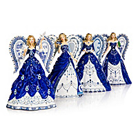 Sparkling Blue Willow Angel Figurine Collection