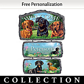 Lovable Dachshunds Personalized Welcome Sign Collection