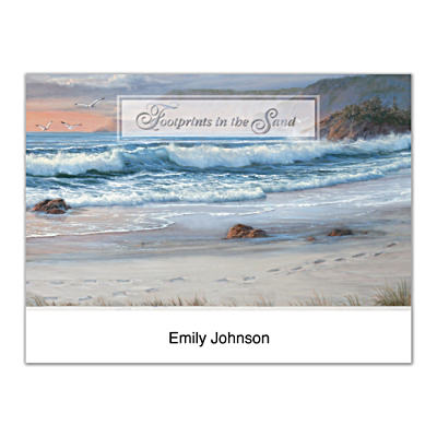 Footprints In The Sand Folded Note Cards