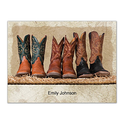 Cowboy Boots Folded Note Cards