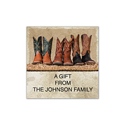 Cowboy Boots Square Labels