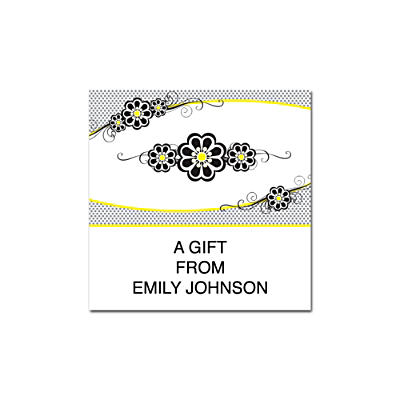 Fashion Flowers Square Labels