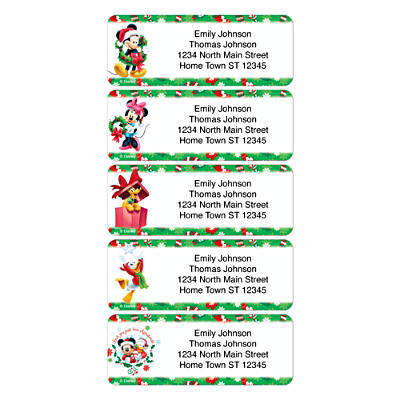 Disney Mickey and Friends Holiday Address Labels