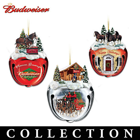 Budweiser Clydesdales Sleigh Bells Ornament Collection