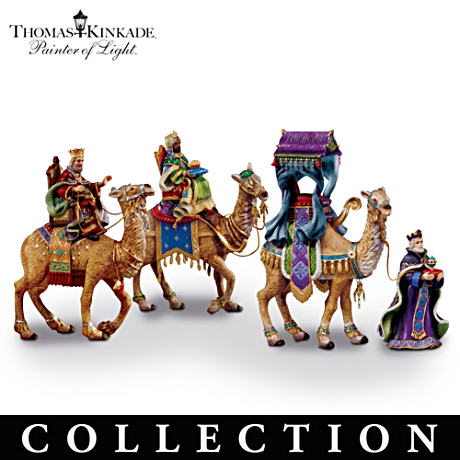 "Thomas Kinkade ""Three Kings"" Porcelain Figurine Collection"