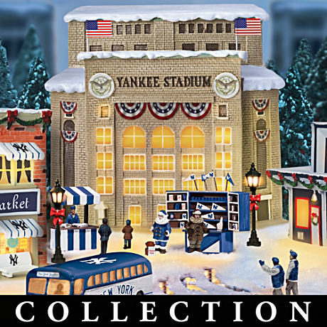 New York Yankees Christmas Village With Lights