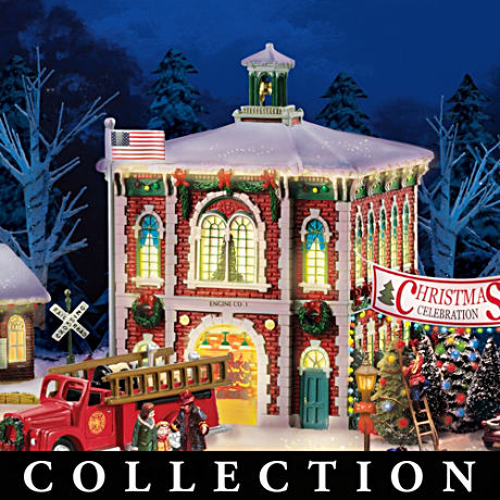 Firefighter Illuminated Christmas Village Collection