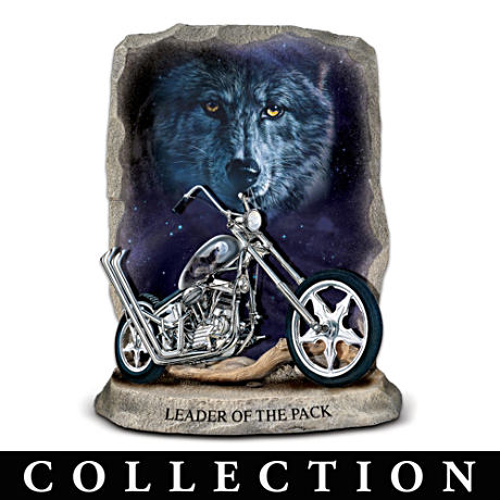 Vivi Crandall Wolf Art Motorcycle Figurine Collection