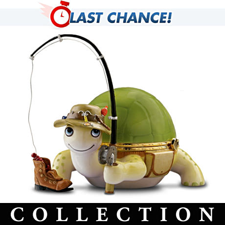 """Gone Fishin'"" Turtle Porcelain Music Box Collection"