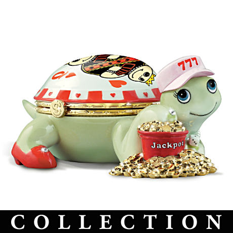 """Casino Queens"" Porcelain Turtles With Swarovski Crystals"