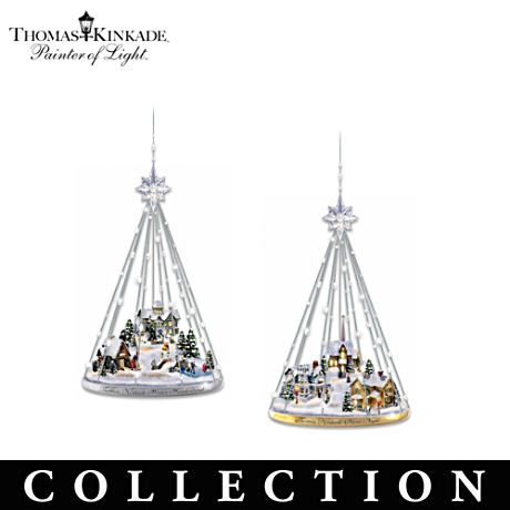Thomas Kinkade Ornament Collection With Crystalline Toppers