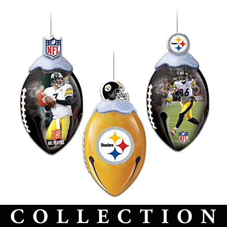 NFL Licensed Pittsburgh Steelers Jingle Bell Ornaments