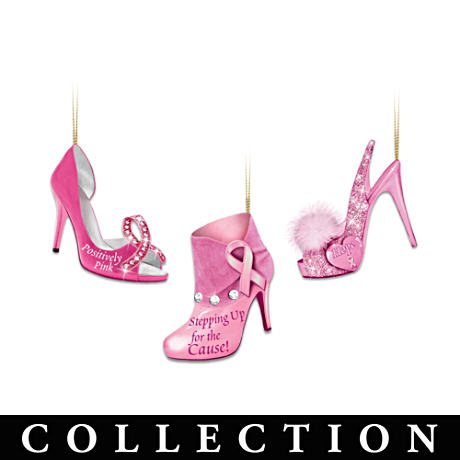 Breast Cancer Support High Heel Shoe Ornament Collection