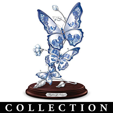 Porcelain Butterfly Sculptures With Blue Willow Pattern