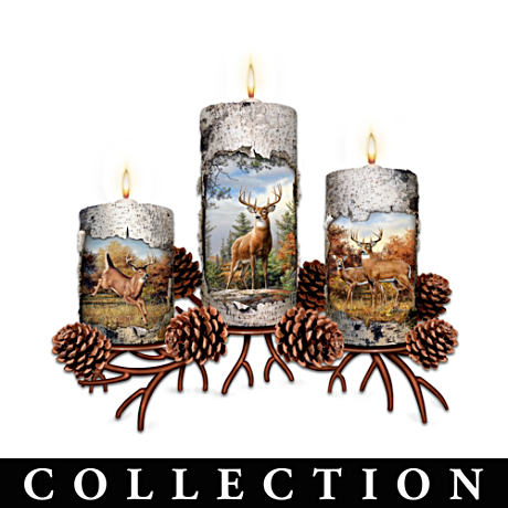 Joseph Hautman Deer Art Candleholders With FREE Tealights