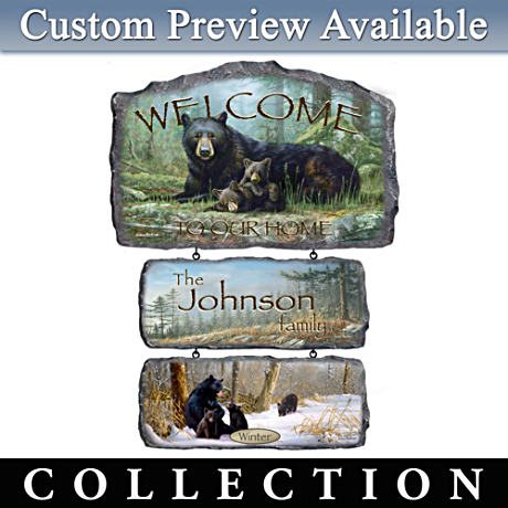 Personalized Hautman Brothers Bear Art Welcome Sign