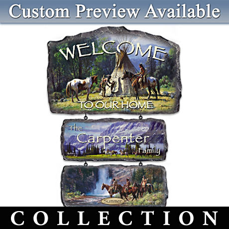 Martin Grelle Seasonal Art Personalized Welcome Sign Display