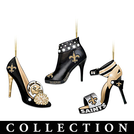 New Orleans Saints High Heel Shoe Ornament Collection