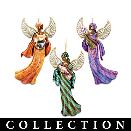 """The Lord's Blessings"" African-American Angel Ornaments"