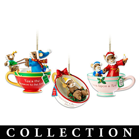 Charming Tails Characters In Teacups With Holiday Sentiments